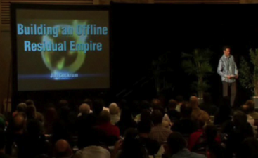 Jim Cockrum on stage at an Internet Marketing event in San Diego
